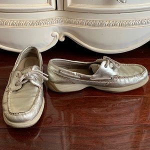 Sperry platinum gold boat shoes